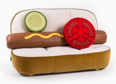 Are food themed throw pillows the next big thing? (The hot dog one is amazing!) | foodie | sofa | couch | pillow