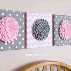 Nursery Decor Flower Wall Art Set of 3 Crochet Blossom Canvas Pink Grey… Crochet Decoration, Crochet Home Decor, Crochet Crafts, Yarn Crafts, Felt Crafts, Crochet Projects, Diy And Crafts, Paper Crafts, Crochet Wall Art