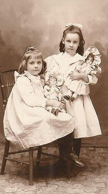 Antique cabinet photo two girls with two Jumeau dolls Middlebury Vermont