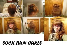 I was skeptical about sock bun curls, but I tried it for myself and look at the results! I realize that this won't work for every hair type, but I'm thrilled that it works for me.   HOW IT WORKS: Before you go to bed, put your hair in a ponytail on top of your head, then roll your hair into a bun with a sock scrunchie. Sleep on it overnight, and take it out in the morning. Here's the website I looked at…