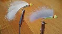 Two flapper styled lures. Brass hot heads with glister bodies and Pinfry strips add the movement ;-)