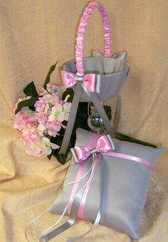 Grey and Pink Wedding Accessories Flower Girl Basket by All4Brides, $60.00