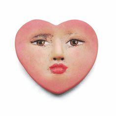 Pink Heart Love Romance Polymer Face Cab Art Doll Goddess Cabochon Salmon Blush Valentine 2362