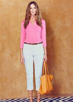 Lizzie Driver Ocean Breeze Cropped Golf Pant in pale blue-grey at #golf4her.com #spring15