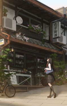 /r/Moescape is a place to post all of your favorite artworks and screen caps of cute Anime characters in their environment. Japanese Aesthetic, Aesthetic Art, Aesthetic Anime, Anime Scenery Wallpaper, Aesthetic Pastel Wallpaper, Anime Art Girl, Manga Art, Casa Anime, Japon Illustration