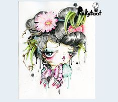 Cactus flowers in her hair love bow big eye pinkytost art etsy