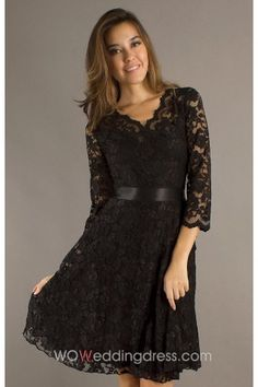 Beautiful Short Black Belted A-Line Lace Dress $122.09 in light sky blue or grape