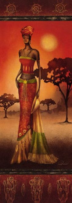 Nicola Rabbett: Masai Lady at Sunset Keilrahmen-Bi African Artwork, African Paintings, Afrique Art, African Theme, Black Artwork, Afro Art, African American Art, African Women, Black Women Art