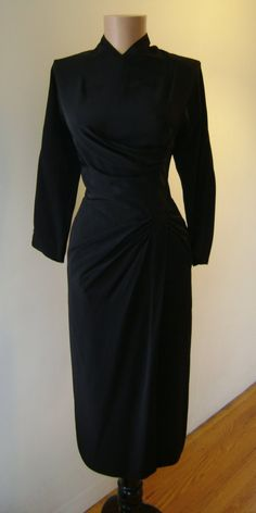 1940s 1950s DOROTHY O'HARA Wiggle LBD FemmeFatale by ditalico, $325.00