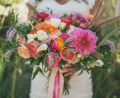 bright pink and orange bouquet