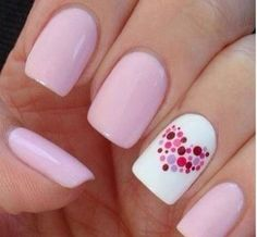Light pink and white heart love nail art
