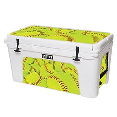 MightySkins Protective Vinyl Skin Decal for YETI Tundra 75 qt Cooler wrap cover sticker skins Softball Collection -- See this great product.-It is an affiliate link to Amazon.