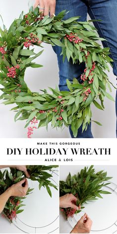 A simple tutorial to learn how to make this stunning DIY Holiday Wreath. #holiday #diy #handmadeholiday