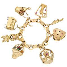 Estate Betteridge Collection Vintage 14k Gold Gem Set Charm Bracelet Bracelets