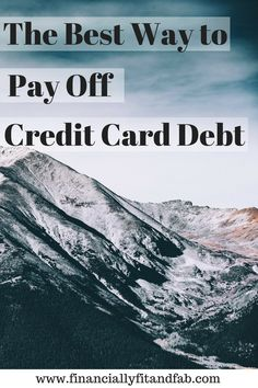 Pay off credit card debt only one way.