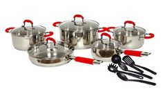 Gourmet Chef 15-Piece Stainless Steel Cookware Set