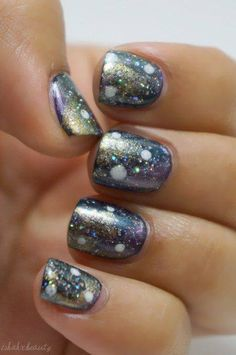 50 Gorgeous Galaxy Nail Art Designs and Tutorials 2018 50 Gorgeous Galaxy Nail Art Designs and Tutorials 2018 Glittering Galaxy Nails. Get the tutorial. Sexy Nails, Love Nails, How To Do Nails, Pretty Nails, Fun Nails, Glitter Accent Nails, Silver Nails, Gradient Nails, Galaxy Nail Art