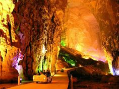 China-The Tenglong (Flying Dragon) Cave is located on the upper reaches of the Qingjiang River, on the outskirts of Lichuan City in Hubei Province. It first brings people a strong acoustic thrill. At the entrance of the Tenglong Cave, the 400 kilometers winding Qingjiang River suddenly drops, thus forming a waterfall some 50 meters wide and 30 meters high.