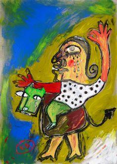 """""""Voy a tener que pensar"""" de Victoria Barranco @ VirtualGallery.com - Pintura acrílica en cartón de 50x70 cm (19.7x27.6 in). Arte marginal. Hombre sobre caballo. Referencia a la pérdida del rumbo. (2015)"""
