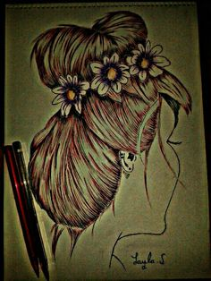 Tumblr drawing red hair pretty flowers