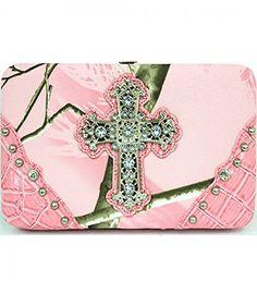 Light Pink Camouflage Cross Wallet Clutch - Handbags, Bling & More!