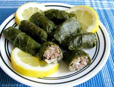 Saucy Jocey's Kitchen: Stuffed Grape Leaves (Dolmades) Looks like a winner to me! Grape Leaves Recipe Lebanese, Dolmades Recipe, Stuffed Grape Leaves, Cabbage Rolls Recipe, Greek Dishes, Supper Recipes, Middle Eastern Recipes, Greek Recipes, Recipes