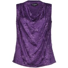 Ivan Montesi Top ($96) ❤ liked on Polyvore featuring tops, purple, lacy tops, sleeveless tops, drape neck top, lace sleeveless top and purple lace top