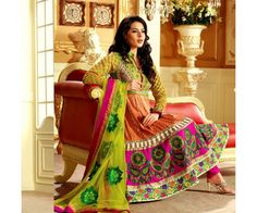 The Gleaming Green ,Magenta and Orange mixed color Anarkali Suit with rich traditonal design.
