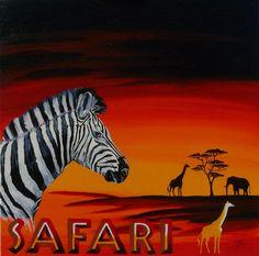 Safari, Acryl auf Leinwand, Glanzfirnis, 60cm x 60cm