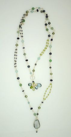 """Anne Vaughan Designs - Tranquility 40"""" Bright Silver Gemstone Necklace, $180.00 (http://annevaughandesigns.com/tranquility-40-bright-silver-gemstone-necklace/)"""