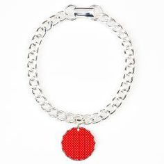 White Hearts on Red Charm Bracelet
