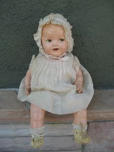 Ideal Rare Shirley Temple Baby Composition Doll 1930's 16 Inches Flirty Eyes