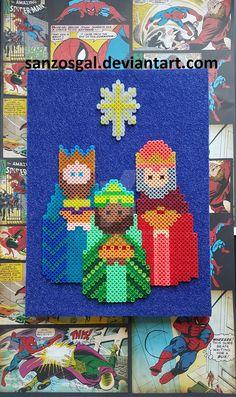 Three Wise Men - Christmas  Perler Beads  by sanzosgal - Pattern: https://www.pinterest.com/pin/374291419011785910/