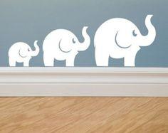 Elephants wall decals, set of 3 vinyl wall decal, elephant decal, baby elephant, nursery wall decals, elephant family wall decal, elephants