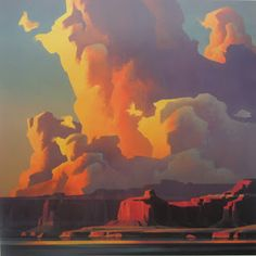 Ed Mell - Contemporary American artist. i love that the clouds are color blocked instead of flowy and fluff. very lovely