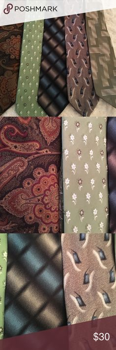 Men's dress tie bundle.  All silk designer ties 4 men's designer ties for dress suit or gift giving.  Great colors and patterns.  100% silk.  Bundle and save Accessories Ties