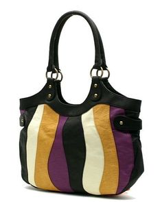 """Great colors! Fashion Multi Color Patch work Shoulder Bag Black trim, Back zipper pocket, Top zipper closure , Pebble grain faux lether exterior, Dual rolled Handles 10"""" drop, Black faux leather accent, Brass tone Hardware Fully lined with Open & Zippered Pockets Inside, Measures approx...."""