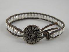 Snow White Pearl Czech Faceted Glass Beaded Leather Wrap Bracelet - Floral Metal Button