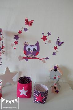 Sur commande - Stickers hibou étoiles et papillons - rose poudré violet fuchsia : Décorations murales par la-fabrique-a-reves