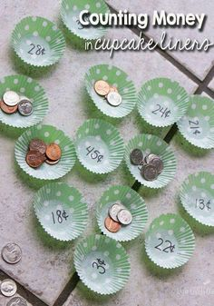 Counting Money - Using cupcake liners for math can be an easy way to prepare a new activity! This counting money game looks like fun, plus there are other suggestions for using the same format! Counting Money Games, Money Activities, Counting Coins, Money Games Ks1, Maths Games Ks1, Money Games For Kids, Vocational Activities, Activities For 6 Year Olds, Vocational Tasks