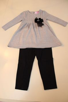 Toddler 3T Tunic Top Sweater Dress Silver and Leggings SET Sophie Rose Long Slv #SophieRose #DressyHoliday