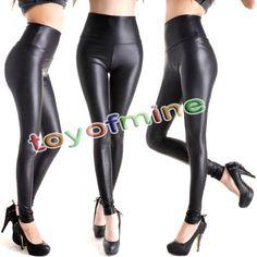 Femme-Leggings-Pantalons-En-Cuir-Faux-Taille-Haute-Moulant-Collants-Jambieres
