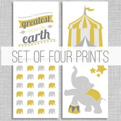 Elephant Circus Art / Nursery Wall Art Poster / Custom Art Print / Four 8x10 Prints / Greatest Show on Earth. $48.00, via Etsy. Circus Art, Baby Mine, Custom Art, Nursery Wall Art, Elephant, Earth, Art Prints, Handmade Gifts, Poster