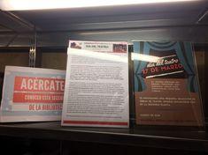 Abril 2018. El 27 de marzo se conmemoró el Día Internacional del Teatro, por ese motivo, os proponemos acercaros a conocer nuestra sección de Teatro, 2ª planta de la Biblioteca. Broadway Shows, Signs, Window Displays, March, Getting To Know, Shop Signs, Sign, Dishes