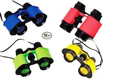 camping party favors - Play Kreative Toy Binocualrs - Pack of 12 Assorted Colorful Novelty Binoculars with Strings for Kids, Sightseeing, Birdwatching, Wildlife, Outdoors, Scenery, Indoors, Pretend, Play, Props, And Gifts -- Read more at the image link. (This is an affiliate link) #KidsCampingGear