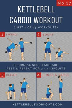 Kettlebell Cardio Workout No. 17 of 25. A full body kettlebell circuit. An excellent kettlebell workout for the total body so great for fat loss. A kettlebell complex workout that will raise your heart rate quickly in very little time.