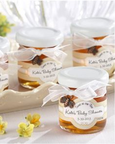 Add a sweet touch to your baby shower with these adorable honey jar favors. Each jar contains gourmet clover honey produced in the United States.