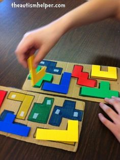 The Autism Helper - This another activity I can do with the plastic shapes game. This would be a little simpler to get the students familiar with the shapes and how to manipulate them. Autism Activities, Autism Resources, Educational Activities, Classroom Activities, Preschool Activities, Autism Classroom, Special Education Classroom, Classroom Setup, Infant Activities