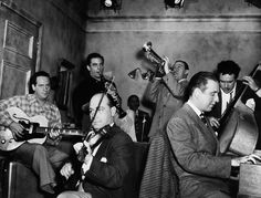 Jam Session, 1947 by Granger Clarinet, Les Paul, Violin, Guitar, Art Music, Photographic Prints, Trumpet, Poster Size Prints, Hot Guys