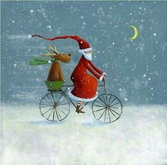 Der Nikolaus ist unterwegs Santa Claus is on the way Christmas Scenes, Noel Christmas, Christmas Pictures, All Things Christmas, Winter Christmas, Vintage Christmas, Christmas Crafts, Christmas Decorations, Illustration Noel
